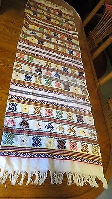 Guatemalan Hand Woven Multi Color Tapestry Huipil Textile With Embroidery Table