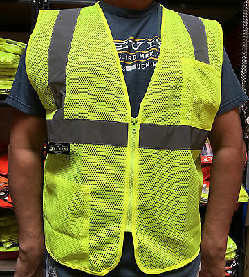 Radians 2 Pockets Green Mesh High Visibility Safety Vest, ANSI/ ISEA 107-2015