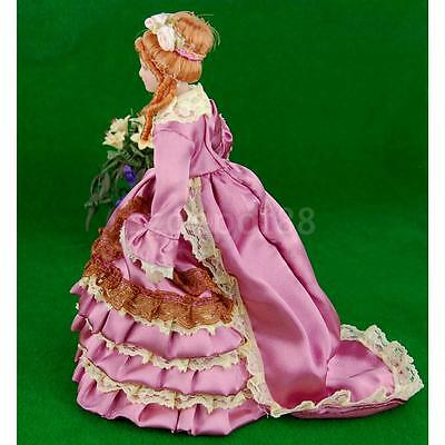 Dollhouse Miniature Porcelain People Figure Victorian Lady Woman with Stand