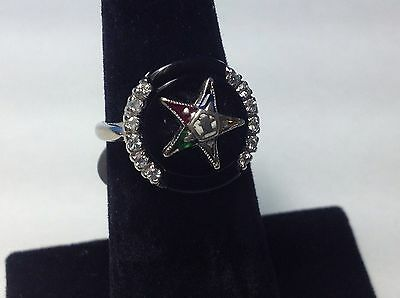Vintage 10k White Gold , Cubic Zirconia Order of the Eastern Star Ring 4.5g
