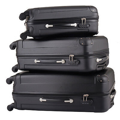 BHC 3 Pcs Luggage Coded Lock Travel Set Bag ABS+PC Trolley Suitcase Black New