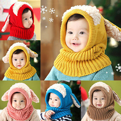 Winter Baby Beanie Hat with Scarf Dog Style Kids Boys Girls Crochet Knitted Caps