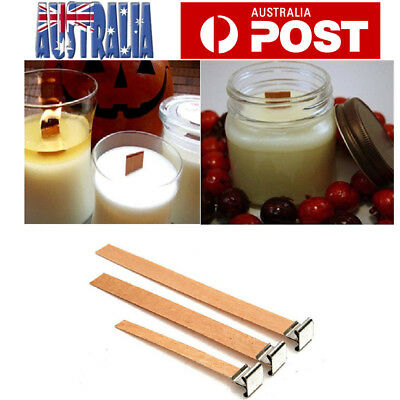 50X Wooden Wick Candle Core With Sustainer Tabs DIY Candle Making Supplies