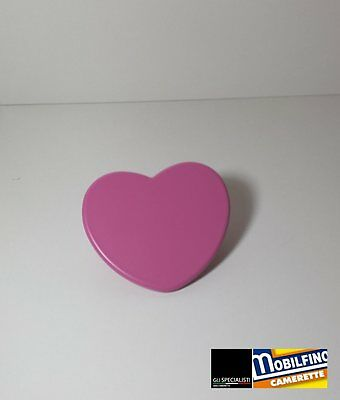 Maniglia cuore fuxia 32mm cameretta armadio design purple heart handle Mobilfino