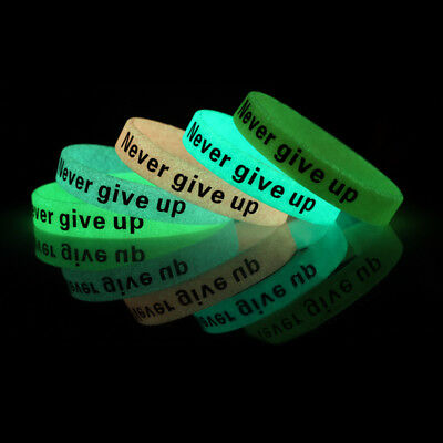 10pcs Sport Glow In the Dark Never Give Up Silicone Bracelets Rubber Wristbands