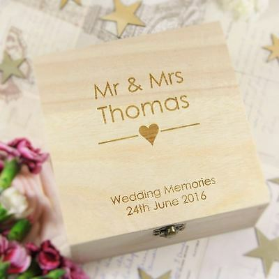 Wedding Memory Box Personalised Engraved Heart Wooden Memories Box - Great Gift
