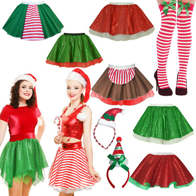 310a47f7bced2 Ladies ELF COSTUME Skirt CHRISTMAS Fancy Dress Santa CANDY CANE Costume  Skirts