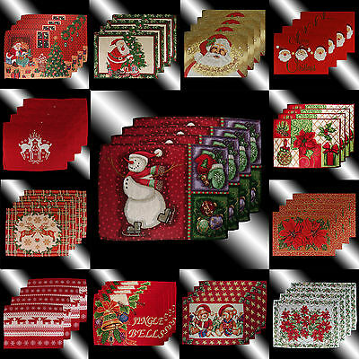 Red Christmas Santa Claus Snowman Poinsettas Tapestry Table Linen Placemats