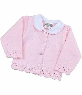 BabyPrem Baby Clothes Girls Pink Knitted Cardigan with Collar Newborn - 6m