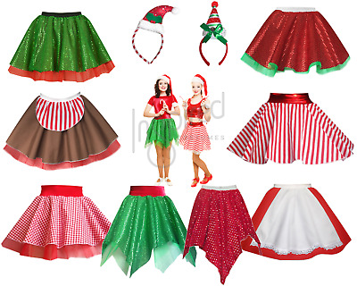 GIRLS Elf CHRISTMAS Skirt Costume Mrs Claus Dance Fancy Dress UK