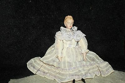 """Vintage  Bisque? Lady Doll, Head/Arms/Feet, Hand Painted Stuffed Body 14"""""""
