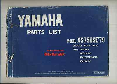 Yamaha XS 750 SE (1979-on) Parts List Catalogue Book Manual US Special 3L3 2G2
