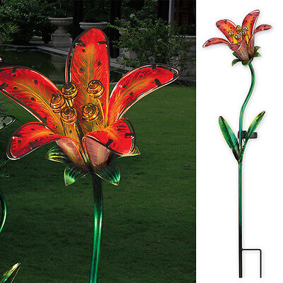 Solar Glass Tiger Lily Red