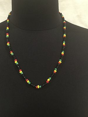 Beaded Necklace With Red Yellow Green & Black Beads 56 Cm Length Hand Made Rasta