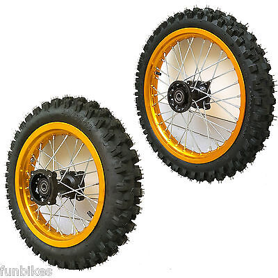 Pit Bike Gold Wheel Set 14inch Front 12inch Rear Tyre Rim SDG Hub CRF50 CRF70