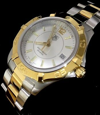 Men's Tag Heuer Aquaracer WAF1120 Gold Two Tone Serviced Boxed Warranty Sapphire
