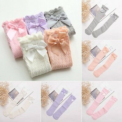 Baby Cotton Socks Girl Non-slip Knee High Socks Frilly Ribbons Bow Stocking USA