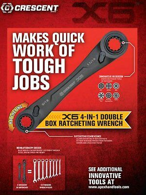 Crescent X6 CX6DBS2 4-in-1 Double Box Ratcheting Wrench Set,  SAE Black, 2-Piece