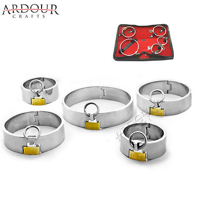 Stainless Steel Wrist, Ankle Cuffs & Neck Collar Set of 5 Pieces Restraint