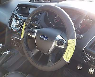 Universal Green and Black Car Steering Wheel Cover Non-Slip Soft Faux Leather