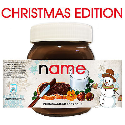SNOWMAN CHRISTMAS Personalised NUTELLA Gift Love Fun Chocolate Spread Party!