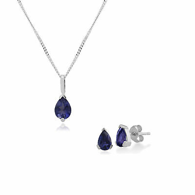 Gemondo 9ct White Gold Iolite 3 Claw Set Pear Stud Earring & 45cm Necklace Set
