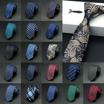 Fashion Men's Necktie Jacquard Woven Tie Silk New Narrow Wedding Skinny Slim
