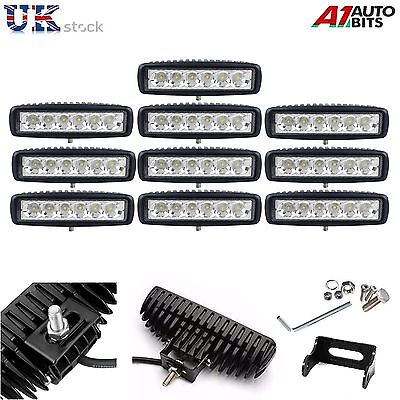 10X 18W LED Offroad Slim Spot Beam IP67 Bar Tractor Jeep Truck Work Light Lamps