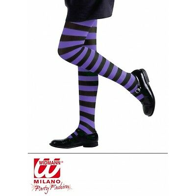Childrens 4-6 years purple and black striped tights fancydress accessory