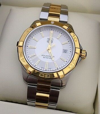 Men's Tag Heuer Aquaracer Genuine Gold Two Tone Serviced Boxed Warranty Sapphire