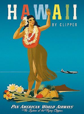 Hawaii by Clipper Hawaiian United States Vintage Travel Advertisement Poster 2