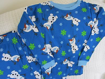 New Disney Frozen Olaf Girls Boys Size 5 Pjs Set Cotton 2 Piece Pajamas Snug-Fit