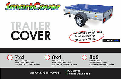 leisure MART 8 x 4 Blue PVC Heavy duty 8ft x 4ft trailer cover Pt No Please ensure the cover is the correct size before ordering. LMX1651