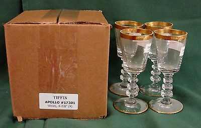 Tiffin Crystal APOLLO 17301 Wine Stems SET/4 MINT In BOX Gold Encrusted