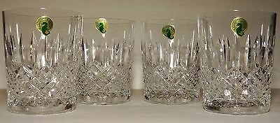 4 Rare New Waterford Crystal Ballybay Double Old Fashioned Tumbler Glasses