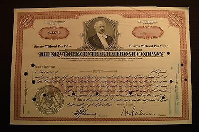 1956 The New York Central Railroad Company Stock Certificate NL33713
