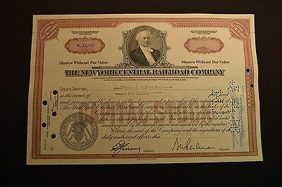 1956 The New York Central Railroad Company Stock Certificate NL33285