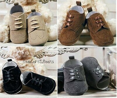 Baby Boys Grey Beige Black Suede Christening Wedding Pram Shoes Smart Formal
