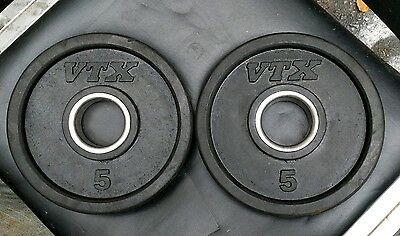 """Pair 5 LB VTX by Troy Barbell Olympic 2"""" Weight Plates 2x5 lbs Rubber"""