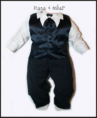 Baby Boy Navy Satin Tie Set Outfit Smart Wedding Suit Christening Baptism 0-24m