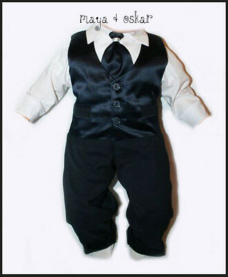 Baby Boys Navy Satin Tie Set Outfit Smart Wedding Suit Christening Baptism 0-24m