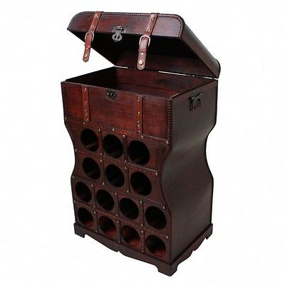 Wine Rack Wood Colonial Style 14 Bottles Cabinet Shelf Stand