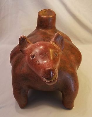 Ancient Pre-Columbian West Mexican Colima Perro Dog Ceramic Vessel Statue 200BC