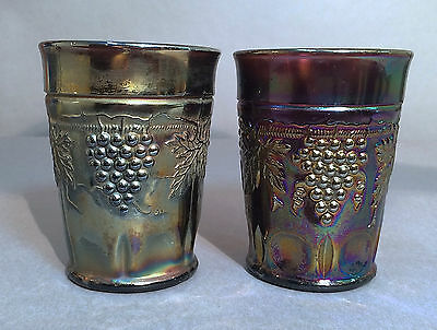 2 Antique Northwood Carnival Glass Grape & Cable Amethyst Tumblers