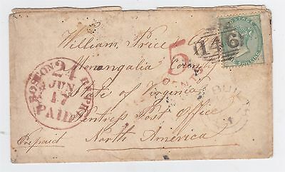 Great Britain 1858 Cover To Pentress West Virginia U.s.