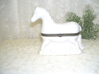 White Horse Hinged Trinket Box