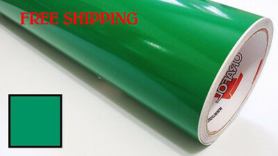 "Glossy -GREEN Vinyl Graphics Decal Sticker Sheet Film Roll Overlay 24"" FREE SHIP"