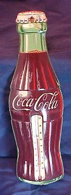 "Antique Tin Coca Cola Coke Bottle Thermometer Robertson 16 1/2"" Height"