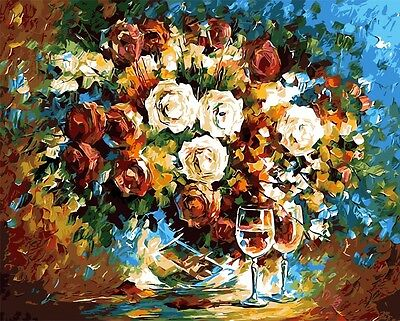 Painting by Number kit A Vase of Roses Two Glasses of Wine Drink Flowers BB7618