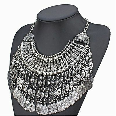 New Tribal Belly Dance Coin Necklace Sliver Turkish Gypsy Bohemian Alloy AA53